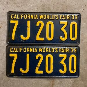 1939 California License Plate Pair 7j 20 30 Yom Dmv Clear Ford Chevy Packard