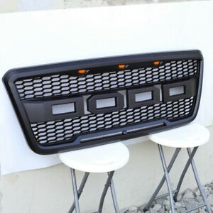 Ford F150 2004 2008 Front Grill Raptor Style Black W 3 Amber Led