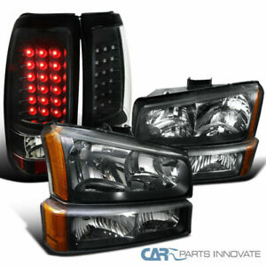 03 07 Chevy Silverado Pickup Black Headlights Bumper Lamps Led Rear Tail Lights
