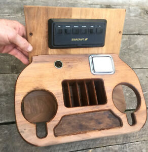 Vintage 1985 95 Chevy Custom Starcraft Van Center Console Cover Wood Drink Tray