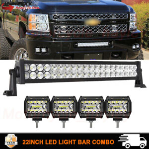 22 120w Led Light Bar 4 Pods Offroad Truck Bumper Atv Suv Lamp For Chevy Ford