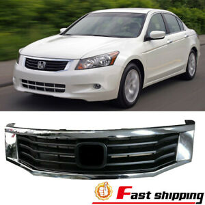 Fits 2008 2009 2010 Honda Accord Sedan Chrome Front Bumper Upper Grille Grill
