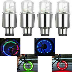 4x Led Wheel Tire Valve Caps Neon Light Lamp Waterproof For Car Motorcycle Bike