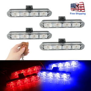 4pcs Car 6led Amber Police Strobe Flash Light Dash Emergency Warning Lamp Kit