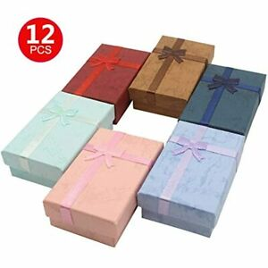 12pcs Exquisite Cardboard Jewelry Gifts Boxes For Display Earrings Necklaces