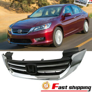 Fit 2013 2015 Honda Accord Sedan Front Bumper Chrome Grill Radiator Upper Grille