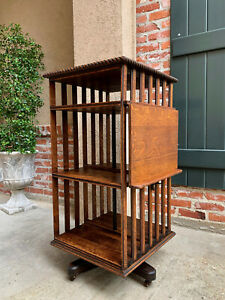 Antique English Oak Revolving Rolling Bookcase Bookshelf Arts Crafts Library