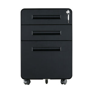 3 Drawers Metal File Cabinet With Lock Rolling Round Filing Cabinet Black A4 F4