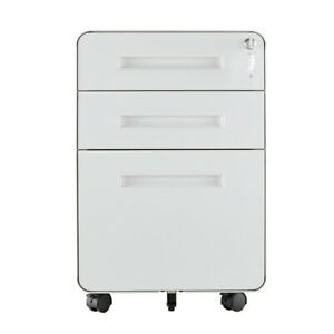 3 Drawers Metal Round File Cabinet Rolling With Lock round Filing Cabinet White