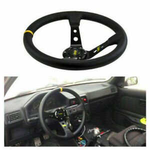 13 8 Inch 350mm Suede Leather Deep Dish Jdm Sport Racing Car Steering Wheel Mos