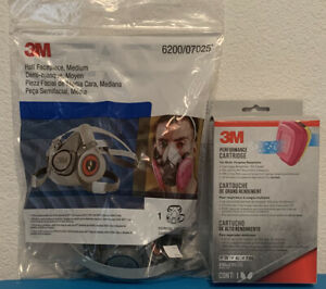 3m 6200 Half Face Reusable Respirator Size Medium Bundle W 3m 60923 Cartridges