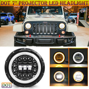 Black Round 7 Led Headlight Hi Lo Beam With Halo Drl For Jeep Wrangler Cherokee