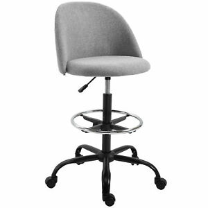 Ergonomic Drawing Swivel Tall Chair W Easy Rolling Wheels Padded Seat Grey