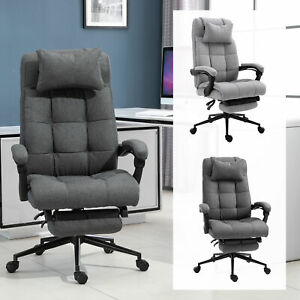 Reclining Office Chair Adjustable Rolling Swivel Chair Footrest Linen