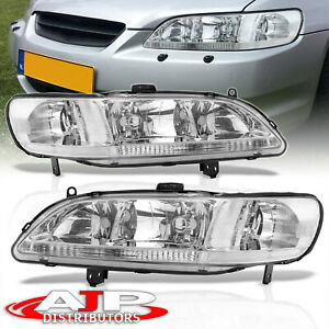 Chrome Clear Replacement Headlights Lamps Lh Rh Pair For 1998 2002 Honda Accord