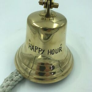 Vintage Ship Marine Nautical Solid Brass Happy Hour Tiki Bar Tavern Bell