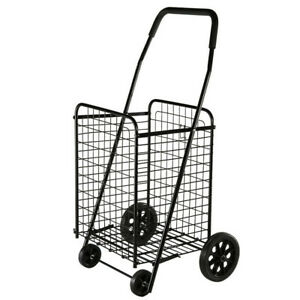 Utility Shopping Cart Foldable Jumbo Basket Outdoor Grocery Laundry Wheels Cs