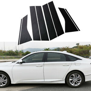 Carbon Fiber Exterior Window Pillar Posts Decal Trim For Honda Accord 2018 2020