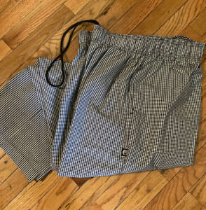 2 New Men Contemporary Black white Check Baggy Chef Pants Xl