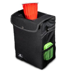 Car Trash Can With Lid Storage Pockets Leak Proof Auto Garbage Container