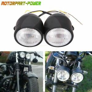 Black Twin Headlight Motorcycle Double Dual Lamp Street Fighter Universal Hot