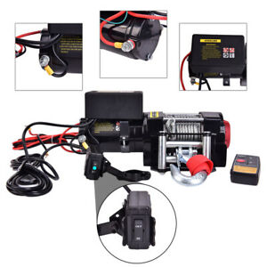 12v Atv Utv4500lb Winch Electric Remote Waterproof Boat Steel Cable Kit