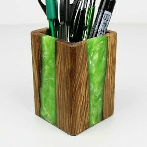 Wooden Pencil Holder With Green Epoxy Resin