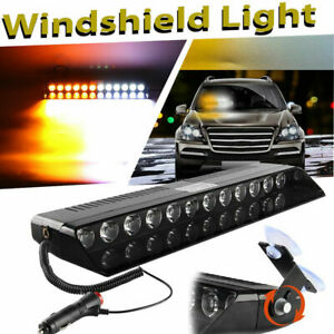 12 Led Car Dash Emergency Strobe Flash Light Warning Lamp Amber White