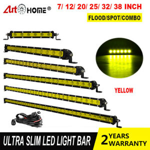 Slim Yellow Led Work Light Bar Single Row Spot Flood Combo 7 12 20 25 32 38 Inch