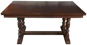 Vintage Solid Mahogany Trestle Dining Table Farmhouse Old World 102