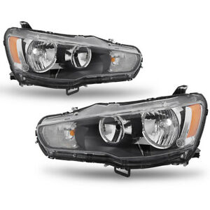For 2008 2017 Mitsubishi Lancer 2008 2015 Evo Black Housing Halogen Headlight Us