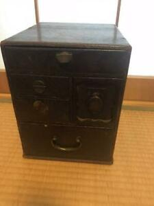 Japanese Antique Wooden Small Chest Toolbox Sewing Box Used 5 Drawers Showa Era