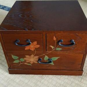 Japanese Antique Wooden Small 5 Drawers Sewing Box Flower Design Showa Era