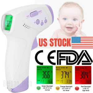 Digital Infrared Thermometer Forehead No Contact Baby Adult Body Temperature Gun