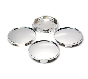 4pcs No Logo Universal 76mm Chrome Silver Car Wheel Center Hub Caps Covers Set