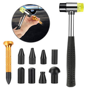 10x Auto Body Dent Repair Tool Kit Paintless Dent Removal Tap Down Rubber Hammer