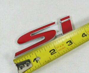 Honda Civic Si Emblem 02 15 Rear Trunk Red Chrome Badge Back Sign Symbol Logo