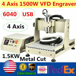 Usb Cnc6040 4 Axis 1500w Vfd Router 3d Engraver Metal Wood Pcb Milling Engraving