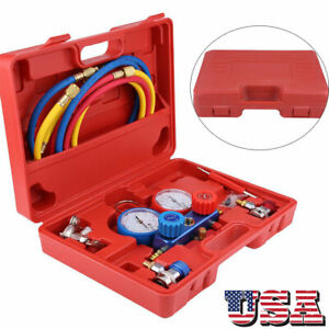 R134a Air Conditioner A c Manifold Gauge Set With 5ft Charging Hose Tool Usa