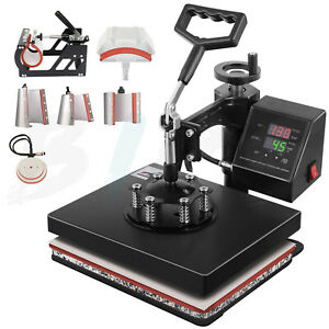 8 In 1 Combo 10 X 12in Heat Press Machine T Shirt Plate Mug Submilation Transfer