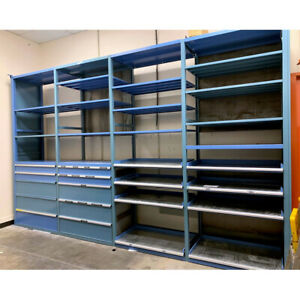 Industrial Blue Steel 13 shelf 8 sliding Shelf 10 drawer Modular Shelving System