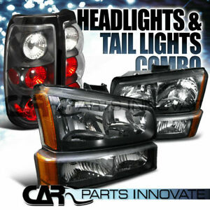 03 07 Chevy Silverado Chrome Black Headlights Bumper Parking Lamps Tail Lights