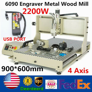 2200w 4 Axis Usb Cnc 6090 Router Engraver Metal Wood Milling Machine controller