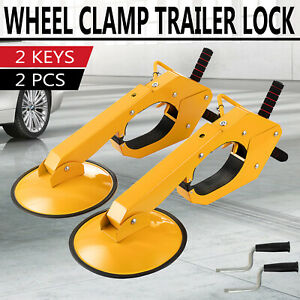 2pcs Wheel Lock Clamp Boot Parking Tire Claw Trailer Car Truck Anti Theft W Key