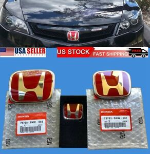 New 3pcs Honda Civic Sedan 4dr 06 15 Red Jdm H Front Rear Steering Emblem Grille