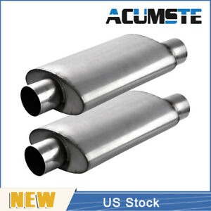 2pcs Car Performance Resonator Exhaust Mufflers Silencer Center 3 Inlet outlet