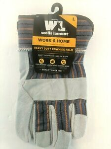 Wells Lamont Gloves Heavy Duty Work Home With Cowhide Palm Size Large