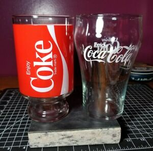 Vintage (2)Large ENJOY COCA-COLA Drinking Glass Soda Cup Clear Coke 32oz!!Clean!
