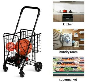Grocery Shopping Laundry Cart Trolley Basket Portable Folding Mobile Heavy Duty