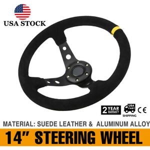 14 deep Dish 6 Bolt Sport Racing Steering Wheel Suede Leather Horn Button Yellow